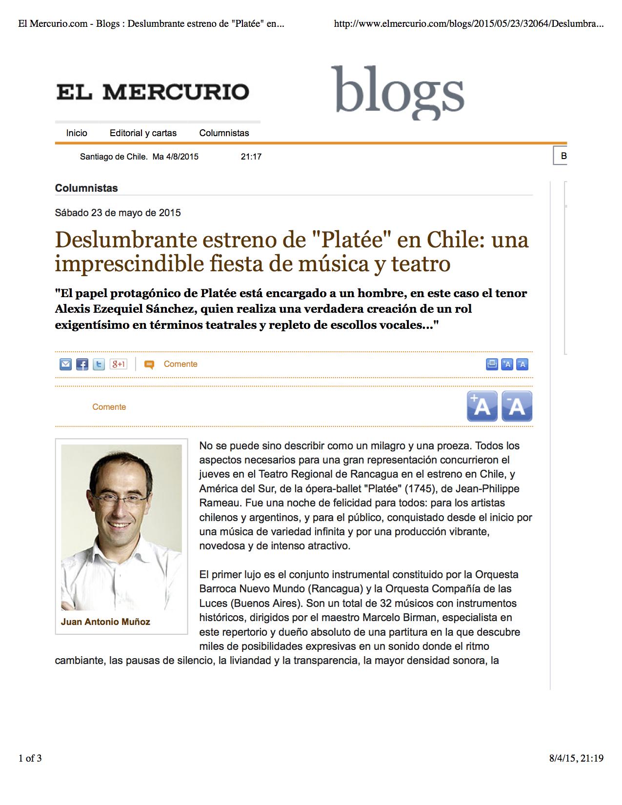 """El Mercurio.com - Blogs : Deslumbrante estreno de """"Platée"""" en Chile: una imprescindible fiesta de música y teatro"""